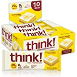 think! (thinkThin) High Protein Bars - Lemon Delight, 20g Protein, 0g Sugar, No Artificial Sweeteners, Gluten Free, GMO Free*