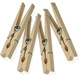 Honey-Can-Do DRY-01376 Wood Clothespins with Spring, 100-Pack, 3.3-inches Length,Brown