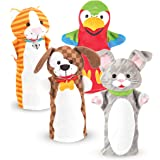 Melissa & Doug 9084 Playful Pets Hand Puppets, Puppet Sets (Rabbit, Parrot, Kitten, and Puppy, Soft Plush Material, Set of 4)