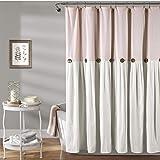 "Lush Decor Linen Button Shower Curtain, 72"" x 72"", Blush & White"