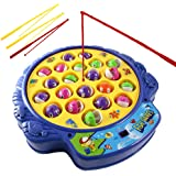 Haktoys Fishing Game Toy Set with Rotating Board | Now with Music On/Off Switch for Quiet Play | Includes 21 Fish and 4 Fishi
