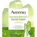 Aveeno Radiance Boosting Hand Mask with Moisture Rich Soy, Moisturizing Hand Gloves to Replenish Dry Dull Skin, Paraben-Free,