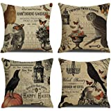RUOAR Pack of 4 Vintage Halloween Pillow Covers Owl Crow Pumpkin Skull Throw Pillow Covers Halloween Cushion Covers 18 x 18 i