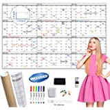 """Large Dry Erase Wall Calendar - 60"""" x 38"""" Undated Blank Yearly Planner - Giant Whiteboard 12 Month Poster - Premium Laminated"""