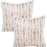Treely Decorative Throw Pillow Covers Furry Decor Modern Shining Striped Pillow Cover Cases 18x18 Inches for Couch Sofa Bedro