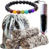 Worldly Finds Sage Smudge Sticks 6 Crystal Choices - Cleansing,Healing Crystals Gemstone Oil Roller, Chakra Diffuser Bracelet
