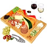 (41cm x 25cm x 3cm ) - Unique Bamboo Cheese Board, Charcuterie Platter and Serving Tray for Wine, Crackers, Brie and Meat. La