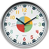 Owlconic Telling Time Teaching Clock - Kids Room, Playroom Analog Silent Wall Clock. Visual Learning Clock Time Resource. Per