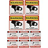 """Video Surveillance Camera Sticker Sign - 10 Pack Decal - Home Business Alarm System Stickers - (4)5½"""" x 5½"""" & (6)3"""" x 4"""" - Ad"""