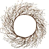 Whonline 18 Inches Pip Berry Wreath for Festival Celebration Front Door Wall Window Home Decor (Off White)