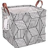 FANKANG Square Nursery Hamper Storage Bins Canvas Laundry Basket Foldable with Waterproof PE Coating Large Storage Baskets Gi