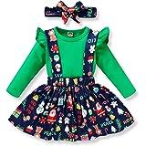 Toddler Baby Girl Thanksgiving/Christmas Dress Long Sleeve Shirt +Suspenders Skirt +Headband 3pcs Outfits Set