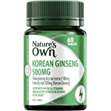Nature's Own Korean Ginseng 500mg Tablets Supports Physical Stamina and Endurance, Relieves Tiredness, Mostly Green, 60 Count