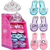 Mastom Girls Play Set! Princess Dress Up Shoes and Tiara (3 Pairs of Shoes + 1 Tiara) Role Play Collection Fashion Princess S