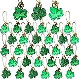 OuMuaMua 30 PCS St. Patrick's Day Shamrocks Ornament Set - Good Luck Clover Hanging Bauble Trefoil Pendant Decoration for Key