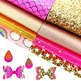 AUXIN 8 Pcs Mixed Gold Pink Series A4 Size Faux Leather Sheets Bundle for Earrings Bows Purses Making,Assorted Synthetic Leat