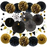 ZERODECO Party Decoration, 21 Pcs Black and Gold Hanging Paper Fans, Pom Poms Flowers, Garlands String Polka Dot and Triangle