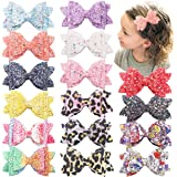 16PCS Glitter Hair Bows for Girls 3.5Inch Sparkly Sequin Glitter Bows Alligator Hair Clips Hair Accessories for Baby Girls To