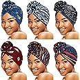 SATINIOR 6 Pieces Women Turbans African Pattern Knot Headwrap Pre-Tied Bonnet for Women Girls