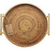 DECRAFTS Round Rattan Bread Basket Woven Serving Tray with Handles for Cracker Dinner Parties Coffee Breakfast (12.6 inches)