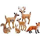 UANDME Miniature Deer Family Toy Figurines with Forest Animal Babies Set, Includes a Buck, Doe, Fawn, Rabbit, Squirrel and Fo