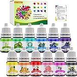 12 Colour Bath Bomb Soap Dye - Skin Safe Bath Bomb Colourant Food Grade Colouring for Soap Making Supplies, Natural Liquid So