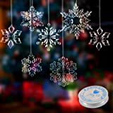 24 Pieces Acrylic Crystal Snowflakes Ornaments Acrylic Xmas Snowflakes for Christmas Winter DIY Decoration, Assorted Sizes 1.