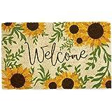 DII CAMZ11125 Indoor/Outdoor Natural Coir Easy Clean, Coir, Sunflower Welcome, 18x30