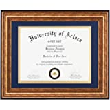 Diploma Frames 8.5x11 with Navy Blue Mat or 11x14 Without Mat, Gold Frames for Diplomas, Documents, Certificates, College Deg