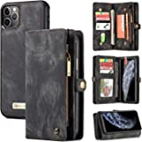 iPhone 11 Pro Max Wallet Case,Zttopo 2 in 1 Leather Zipper Detachable Magnetic 11 Card Slots Card Slots Money Pocket Clutch C