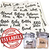 Talented Kitchen 155 Pantry Labels & Fridge – 155 Cursive Labels, Supplementary Ingredients – Food Jar Stickers Decal. Water