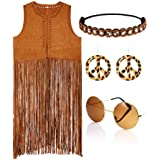 WILLBOND Women Hippie 60s 70s Costume Set -Open-Front Sleeveless Vest Cardigan Earrings Headband and Sunglasses