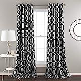 Lush Decor Edward Trellis Room Darkening Window Curtain Panel Pair, 84 inch x 52 inch, Black, Set of 2
