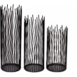 GiveU Metal Willow Led Candle Holder Set of 3, Halloween Candle Holder Set, Black, 8/10/12 inch Height, Functional Table Deco