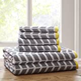 Intelligent Design ID91-525 Nadia 6 Piece Cotton Jacquard Towel Set, 28 x 54(2)/16 x 26(4), Grey