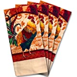 JJ Collection 4 Pack Absorbent Kitchen Dish Towels 15x25 Cotton Poly Rooster
