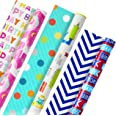 Hallmark 5EWR2434 Reversible Kids Birthday Wrapping Paper, Monsters and Unicorns, 120 sq. ft. ttl, (Pack of 3)