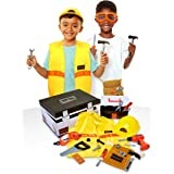 Black+Decker Construction Dress Up Trunk for Kids with Fabric Role Play Costume Accessories, Realistic Toy Tools & Portable K