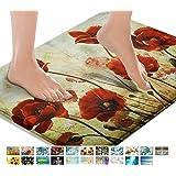 Britimes Bath Mats for Bathroom, Bathroom Mats Rugs No Silp, Springtime Flower Washable Cover Floor Rug Carpets Floor Mat Bat