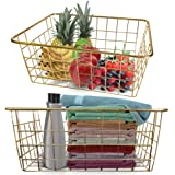Majika 2 Gold Wire Decorative Basket - Pack of 2, Large | Organizer Storage Bin Baskets for Home Decor, Office Desk, Pantry,