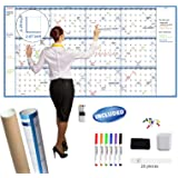 """Large Dry Erase Wall Calendar - 38"""" x 72"""" - Undated Blank 2020-2021 Reusable Yearly Calendar - Giant Whiteboard Annual Poster"""