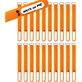 """Wrap-It Storage Cinch-Straps, 8"""" 18 Pack (Orange), Features Stainless Steel Buckle and Label for Cord Identification, Reusabl"""