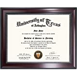 GraduationMall 11x14 Inch Certificate Document Frame with Black Gold Double Mat for 8.5x11 Inch Picture, Real Glass (8.5 x 11