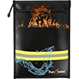 """Fireproof Waterproof Money Document Bag - 15"""" x 11"""" Upgraded Zipper Bags, Fire & Water Resistant Storage Organizer Pouch for"""
