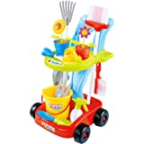 The M World Next Milestones Kids Cleaning Set Gardening Tools 24pcs Garden Housekeeping Toys with Leaf Rake, Watering Can, Ga