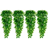 HATOKU 4pcs Artificial Hanging Plants 3.6FT Ivy Vine Fake Leaves for Wall Home Room Garden Wedding Garland Outside Decoration