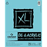 Canson 400026878 XL Series Oil and Acrylic Paper Pad, Bleed Proof Canvas Like Texture, Fold Over, 136 pound, 11 x 14 Inch, Wh