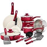 GreenLife Soft Grip Ceramic Non-Stick Cookware Set, Red, 16Pc, CC001020-002