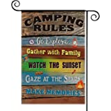 AVOIN Camping Rules Slogan Wood Garden Flag Vertical Double Sized Gather with Family, Compass Rucksack Fire Yard Outdoor Deco