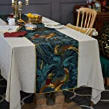 Besalily Nightingale Series Affordable Luxury Cotton Printing Table Runner 17x79 inches Tablecloth TV Stand Cabinet Decoratio